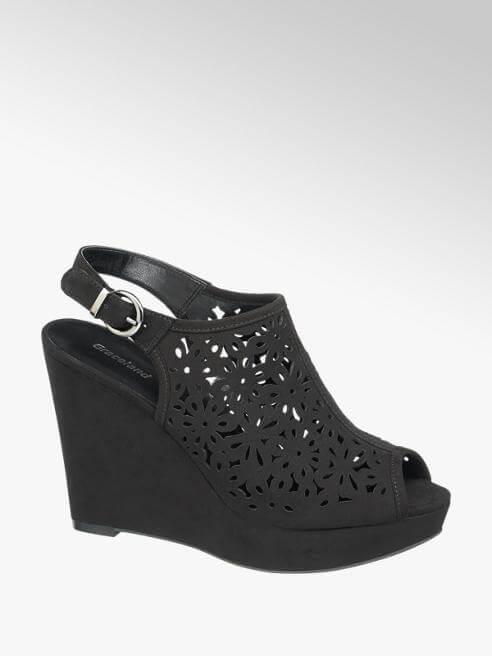 Sandalo nero con zeppa, Deichmann