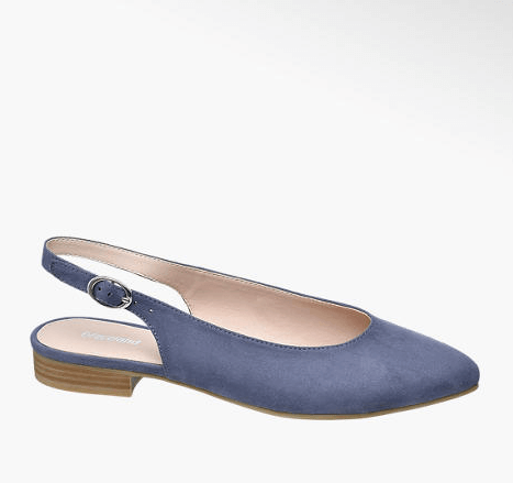 Pointy shoes - Ballerina slingback azzurra, Deichmann