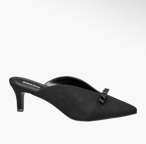 Pointy shoes - Mules nere con tacco basso, Deichmann