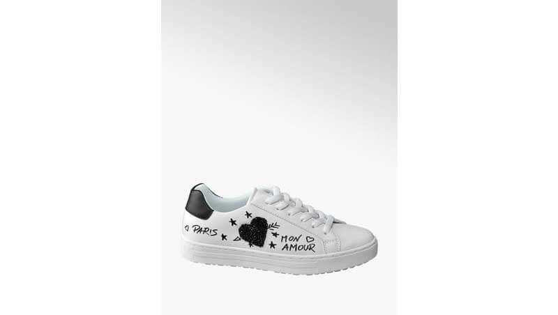 Sneaker bianca con dettagli neri - Deichmann