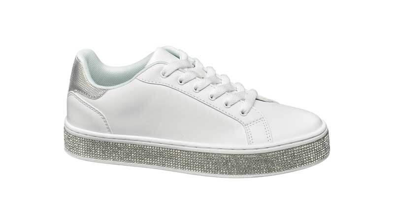 Sneakers bianche con suola glitterata