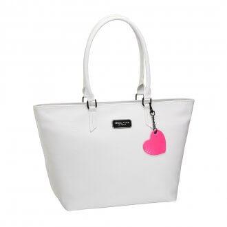 Kylie & Kendall collezione esclusiva - shopper bianca con dettaglio fluo