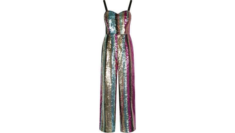 Outfit di Capodanno 2019 - Vestito tuta in paillettes colorate, Tally Weijl