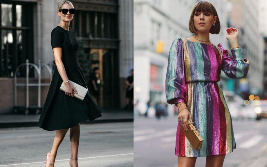 Saldi - Abito in tinta unita nera vs abito in paillettes colorate