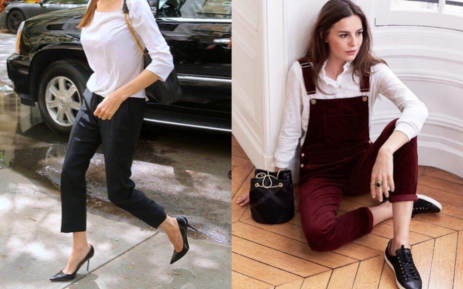 Saldi - Pantalone dritto nero vs salopette in velluto bordeaux