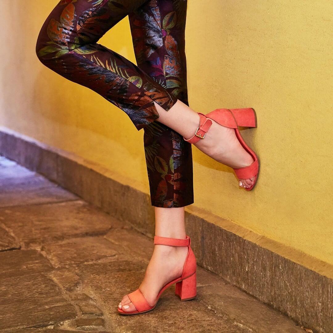 sandali con o senza tacco - sandaletto corallo con tacco a blocco, Deichmann
