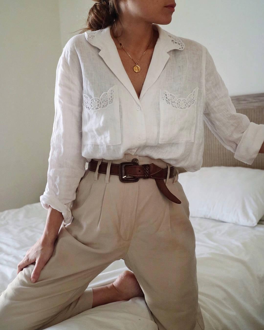 look per il rientro in ufficio - vestiti vintage camicia e pantaloni
