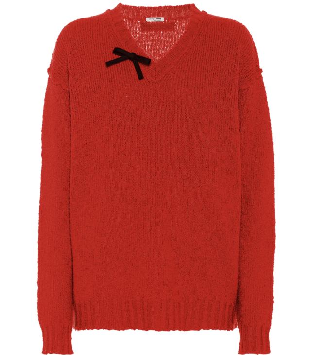 maglioni natalizi - Maglione rosso con fiocco nero Miu Miu