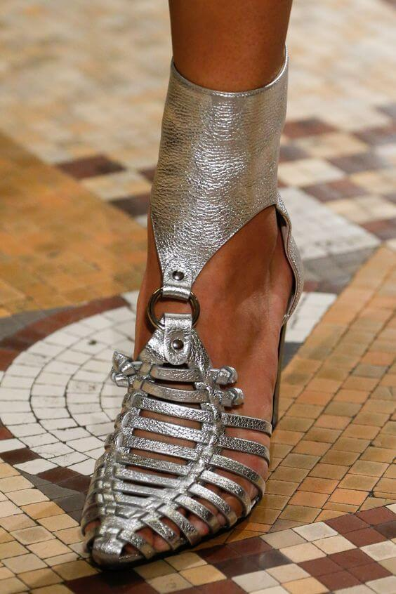 Sandali metallizzati argento