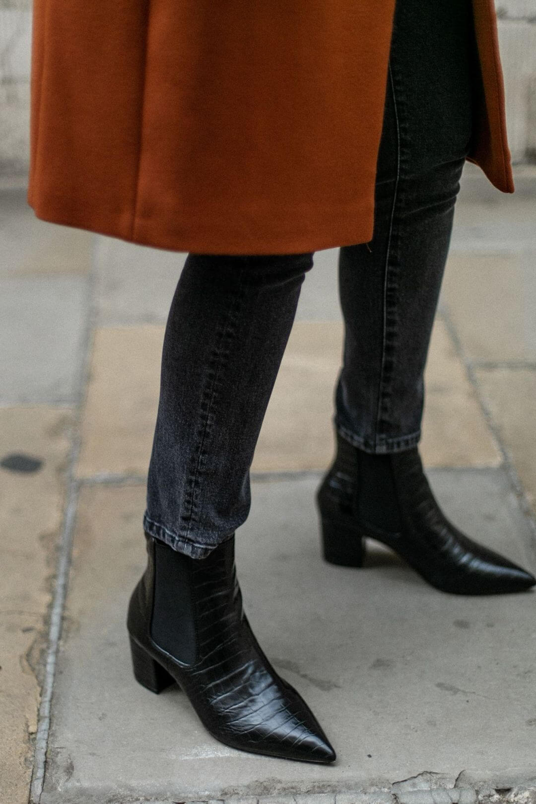 stampa effetto coccodrillo - ankle boots neri