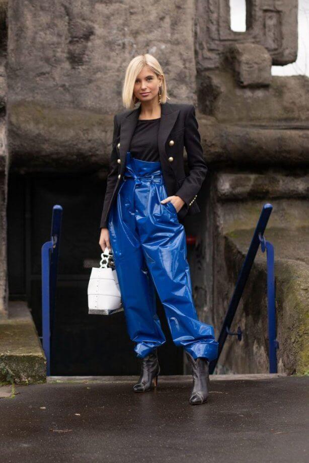 classic blue - pantaloni a vita alta