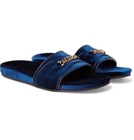 Sandali uomo - Ciabattina in velluto blu con dettaglio catena oro