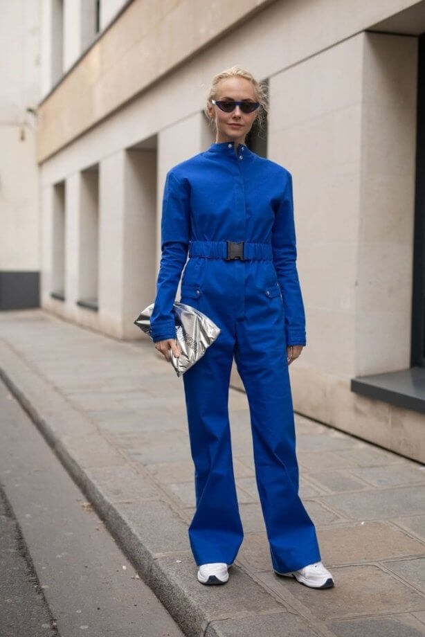 classic blue - tuta con cintura elasticcizzata