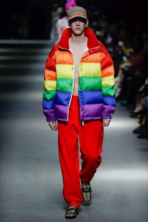Arcobaleno - Piumino uomo multicolore
